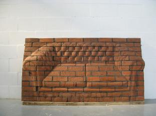 Brick Sculpture of an Upholstered Chesterfield Sofa, Sculpture, Illusion,