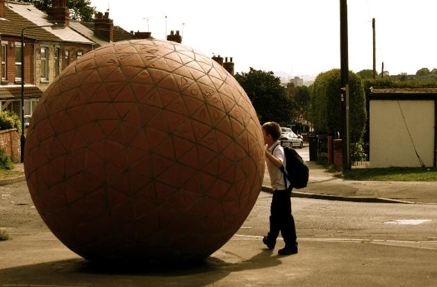 Giant Brick Sphere, Giant terracotta sculpture